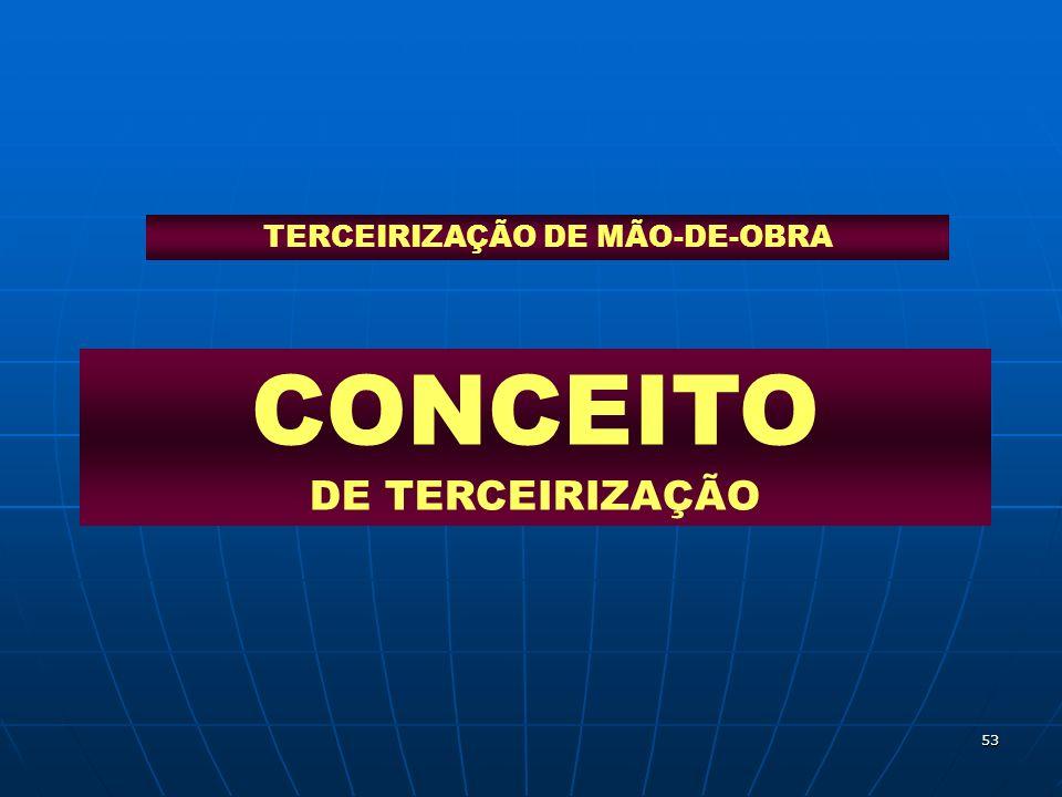 53 CONCEITO DE TERCEIRIZAÇÃO TERCEIRIZAÇÃO DE MÃO-DE-OBRA