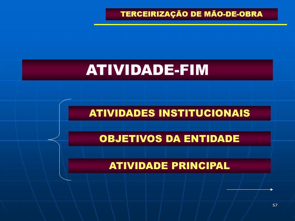 57 ATIVIDADE-FIM ATIVIDADES INSTITUCIONAIS OBJETIVOS DA ENTIDADE ATIVIDADE PRINCIPAL TERCEIRIZAÇÃO DE MÃO-DE-OBRA