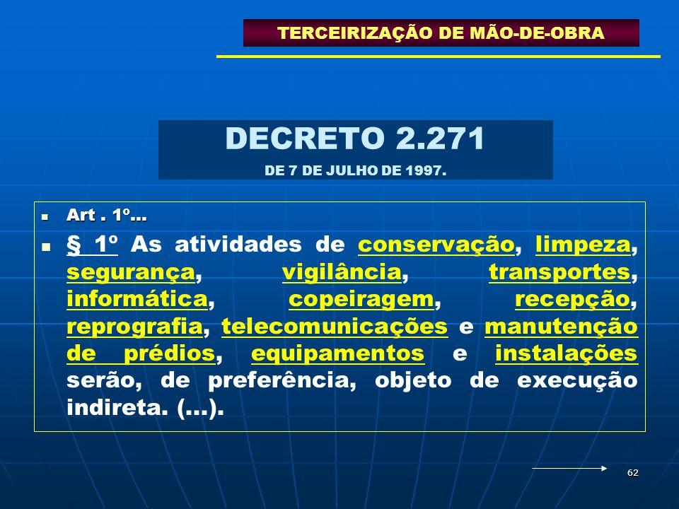 62 DECRETO 2.271 DE 7 DE JULHO DE 1997. Art. 1º... Art. 1º... § 1º As atividades de conservação, limpeza, segurança, vigilância, transportes, informát