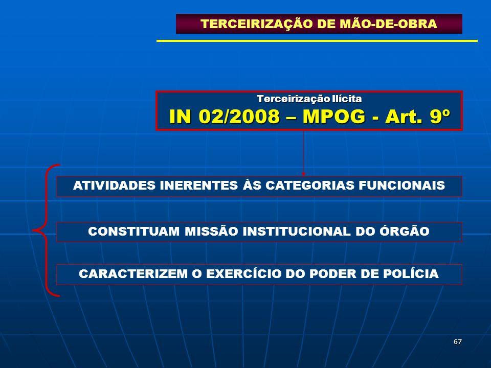 67 Terceirização Ilícita IN 02/2008 – MPOG - Art. 9º TERCEIRIZAÇÃO DE MÃO-DE-OBRA ATIVIDADES INERENTES ÀS CATEGORIAS FUNCIONAIS CONSTITUAM MISSÃO INST