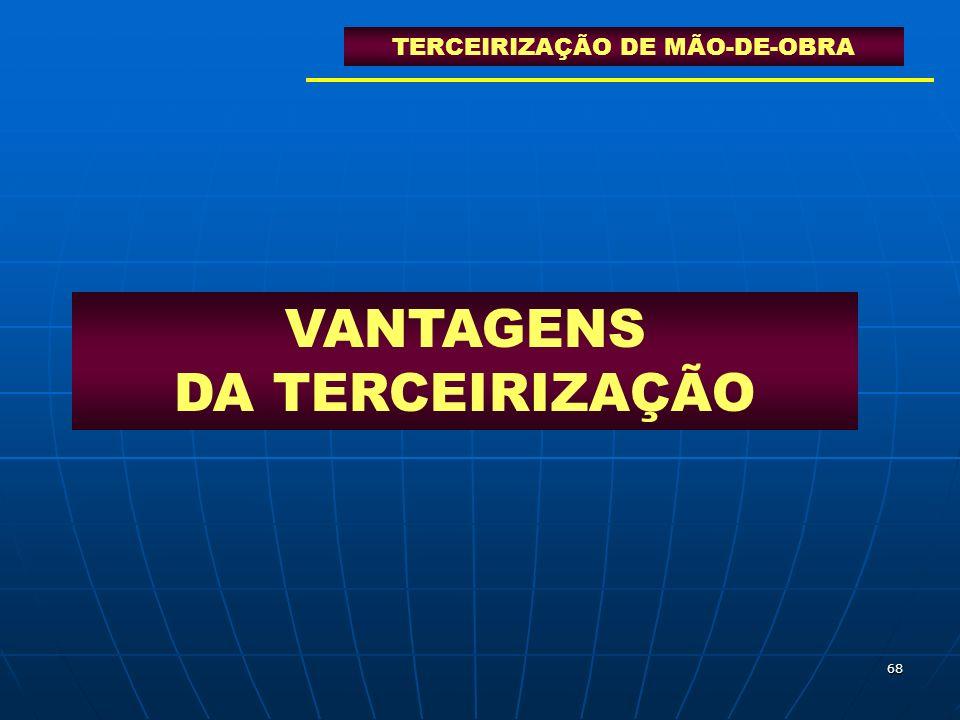68 VANTAGENS DA TERCEIRIZAÇÃO TERCEIRIZAÇÃO DE MÃO-DE-OBRA