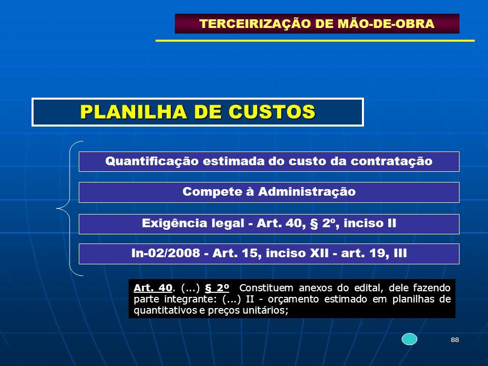 88 PLANILHA DE CUSTOS TERCEIRIZAÇÃO DE MÃO-DE-OBRA Exigência legal - Art. 40, § 2º, inciso II Quantificação estimada do custo da contratação Compete à