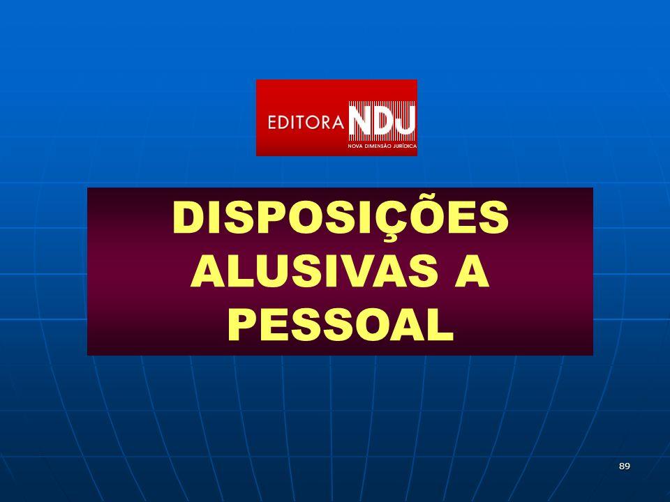 89 DISPOSIÇÕES ALUSIVAS A PESSOAL