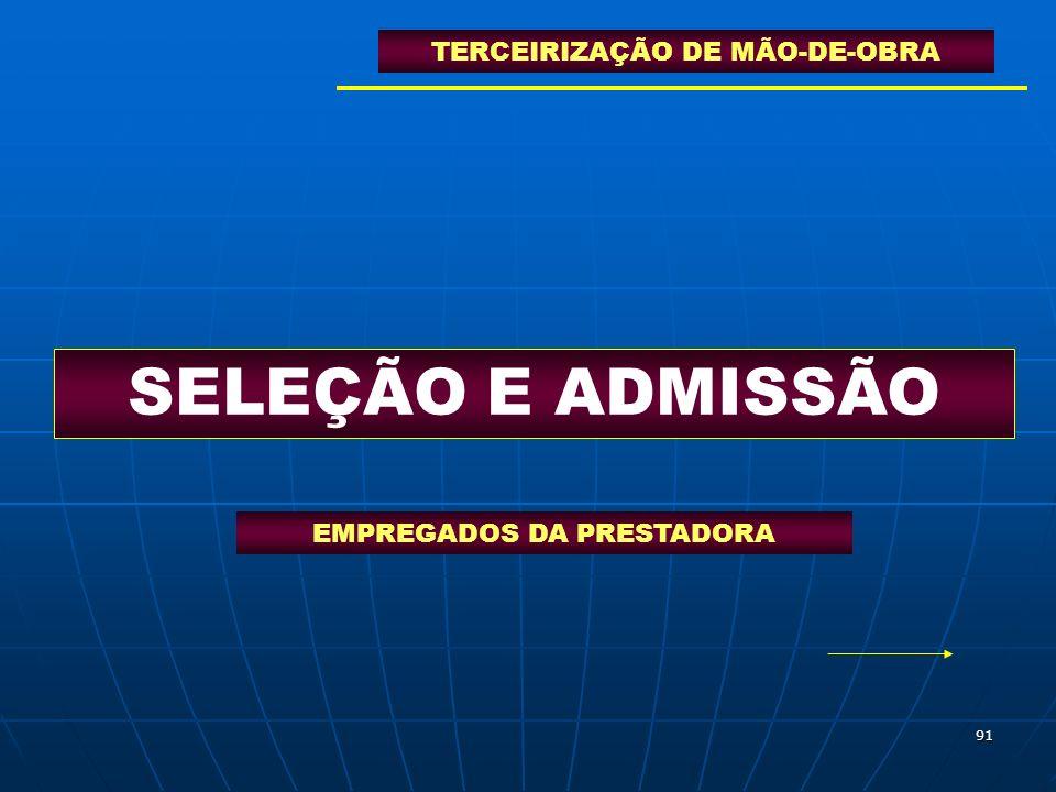 91 SELEÇÃO E ADMISSÃO TERCEIRIZAÇÃO DE MÃO-DE-OBRA EMPREGADOS DA PRESTADORA