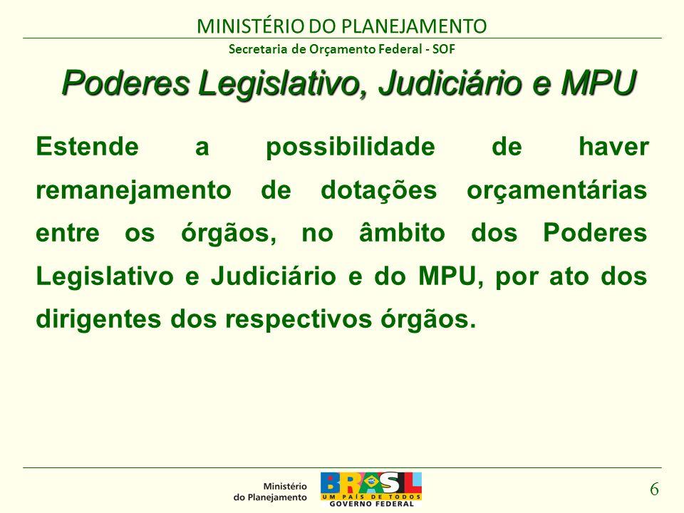 MINISTÉRIO DO PLANEJAMENTO 6 Secretaria de Orçamento Federal - SOF Poderes Legislativo, Judiciário e MPU Estende a possibilidade de haver remanejament