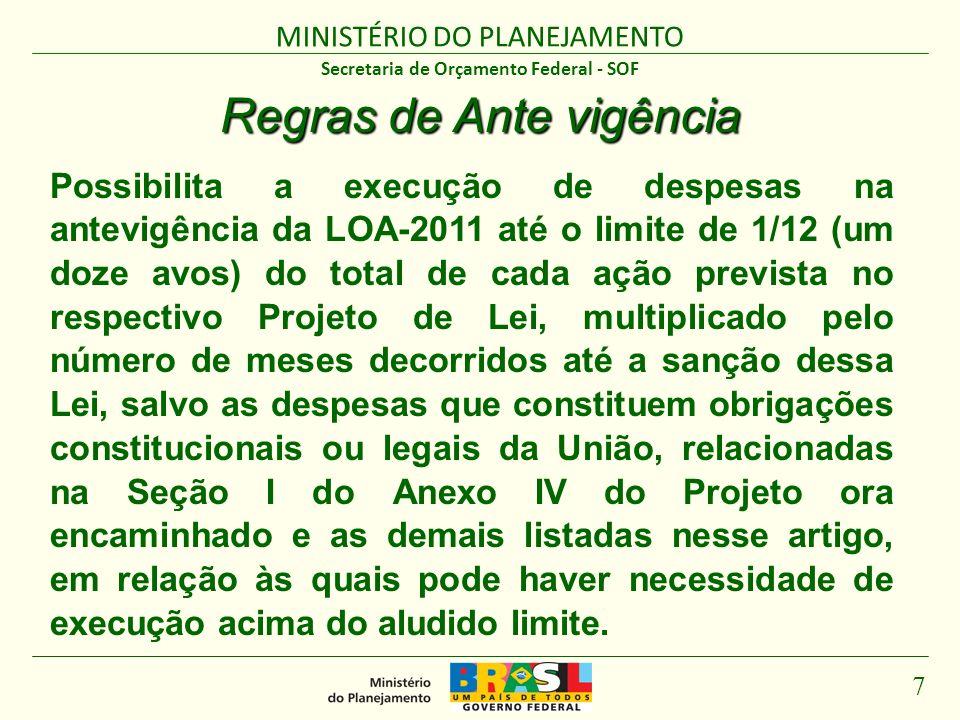 MINISTÉRIO DO PLANEJAMENTO 7 Secretaria de Orçamento Federal - SOF Regras de Ante vigência Possibilita a execução de despesas na antevigência da LOA-2