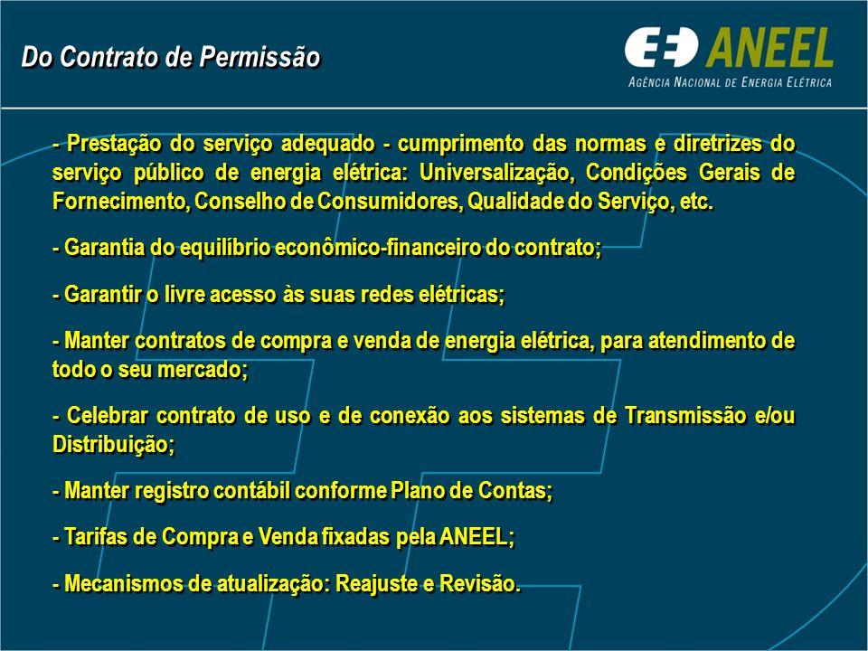 - Prestação do serviço adequado - cumprimento das normas e diretrizes do serviço público de energia elétrica: Universalização, Condições Gerais de Fornecimento, Conselho de Consumidores, Qualidade do Serviço, etc.