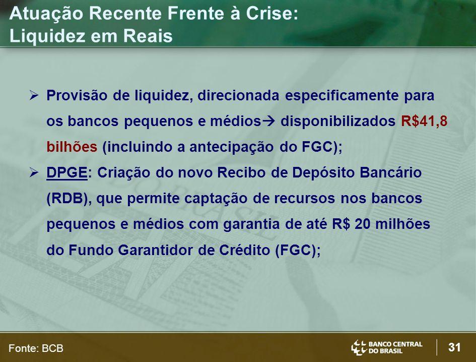 31 Provisão de liquidez, direcionada especificamente para os bancos pequenos e médios disponibilizados R$41,8 bilhões (incluindo a antecipação do FGC)