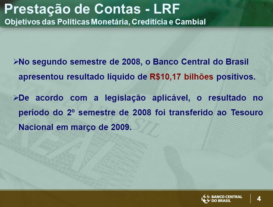 4 No segundo semestre de 2008, o Banco Central do Brasil apresentou resultado líquido de R$10,17 bilhões positivos. De acordo com a legislação aplicáv