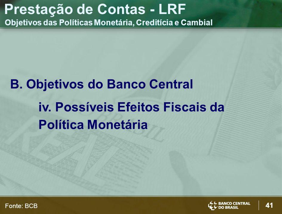 41 B. Objetivos do Banco Central iv. Possíveis Efeitos Fiscais da Política Monetária Prestação de Contas - LRF Objetivos das Políticas Monetária, Cred
