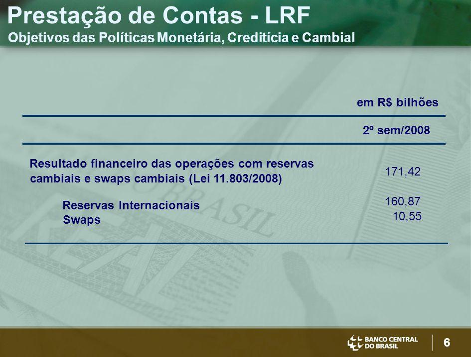 6 Prestação de Contas - LRF Objetivos das Políticas Monetária, Creditícia e Cambial em R$ bilhões 2º sem/2008 Resultado financeiro das operações com r