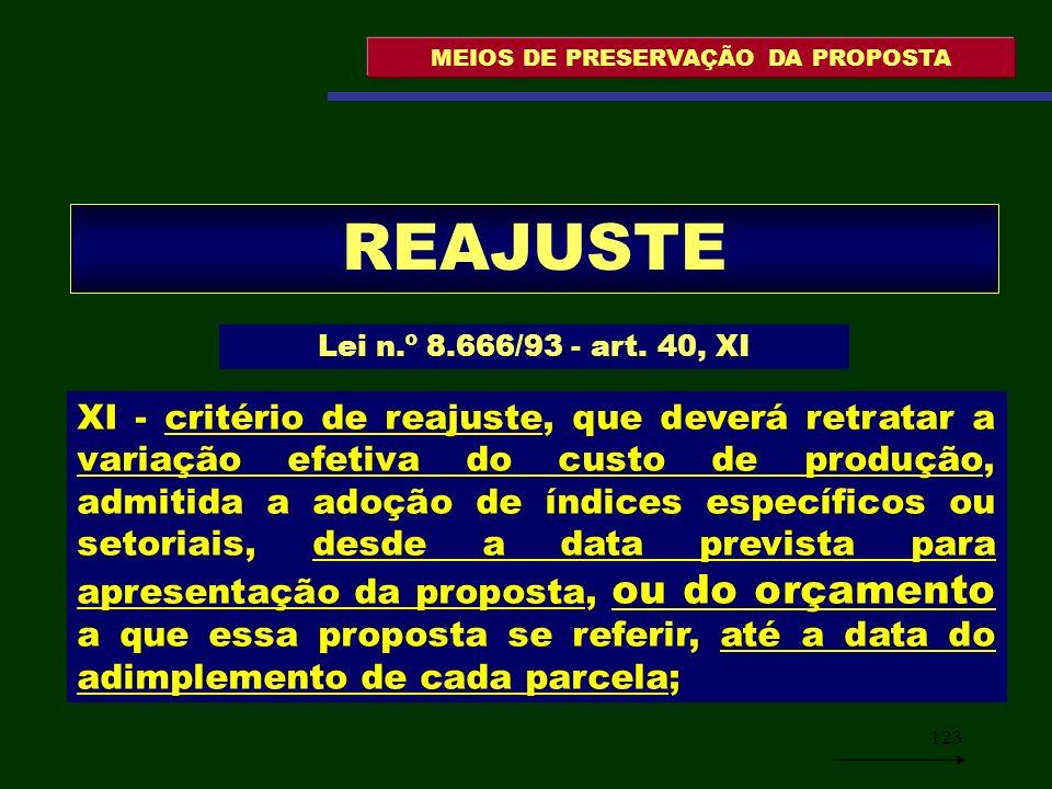 123 MEIOS DE PRESERVAÇÃO DA PROPOSTA REAJUSTE Lei n.º 8.666/93 - art. 40, XI XI - critério de reajuste, que deverá retratar a variação efetiva do cust