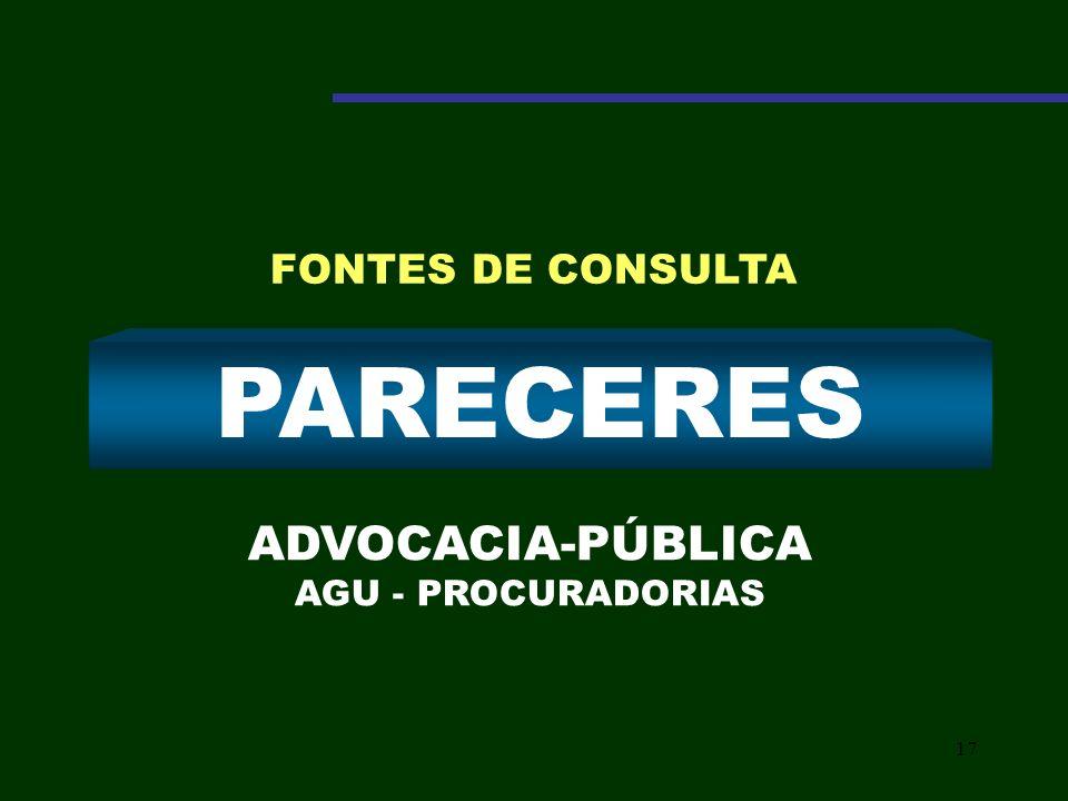 17 PARECERES ADVOCACIA-PÚBLICA AGU - PROCURADORIAS FONTES DE CONSULTA