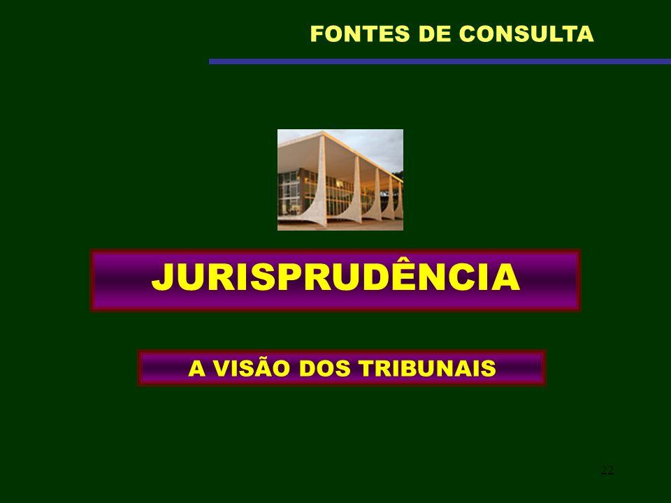 22 JURISPRUDÊNCIA A VISÃO DOS TRIBUNAIS FONTES DE CONSULTA