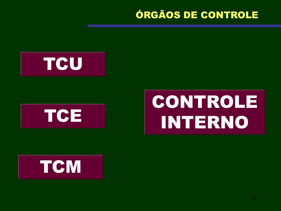 29 TCU ÓRGÃOS DE CONTROLE TCE TCM CONTROLE INTERNO