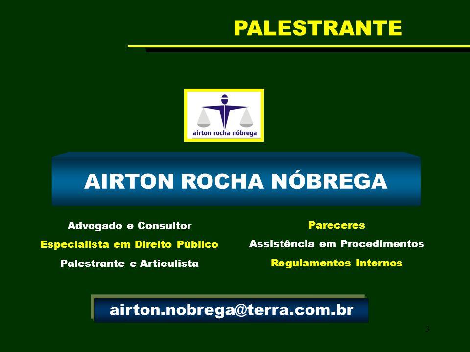 3 AIRTON ROCHA NÓBREGA Advogado e Consultor Especialista em Direito Público Palestrante e Articulista Pareceres Assistência em Procedimentos Regulamen