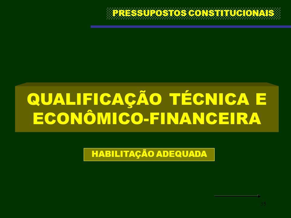35 QUALIFICAÇÃO TÉCNICA E ECONÔMICO-FINANCEIRA HABILITAÇÃO ADEQUADA PRESSUPOSTOS CONSTITUCIONAIS