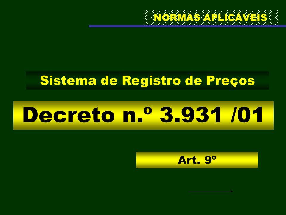 NORMAS APLICÁVEIS Decreto n.º 3.931 /01 Sistema de Registro de Preços Art. 9º