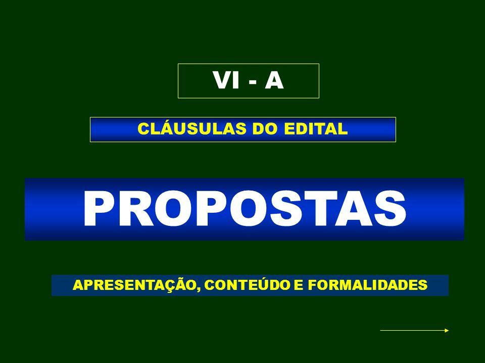 PROPOSTAS CLÁUSULAS DO EDITAL VI - A APRESENTAÇÃO, CONTEÚDO E FORMALIDADES