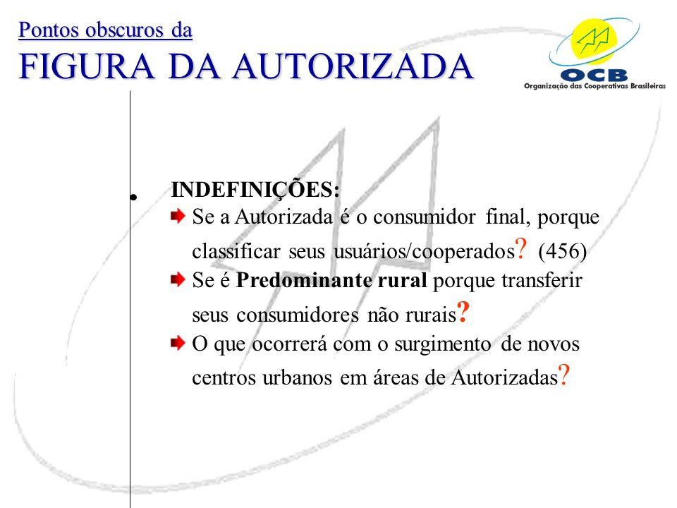 INDEFINIÇÕES: Se a Autorizada é o consumidor final, porque classificar seus usuários/cooperados ? (456) Se é Predominante rural porque transferir seus