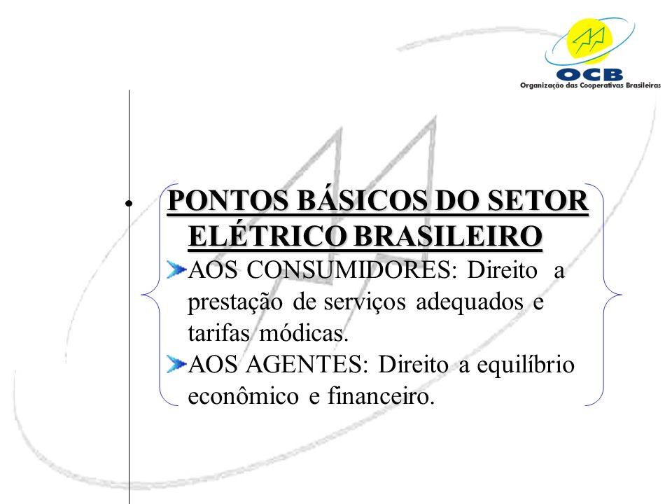 PONTOS BÁSICOS DO SETOR ELÉTRICO BRASILEIRO AOS CONSUMIDORES: Direito a prestação de serviços adequados e tarifas módicas. AOS AGENTES: Direito a equi