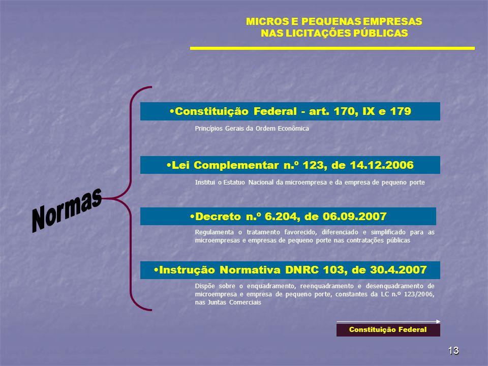 13 Lei Complementar n.º 123, de 14.12.2006 MICROS E PEQUENAS EMPRESAS NAS LICITAÇÕES PÚBLICAS Decreto n.º 6.204, de 06.09.2007 Instrução Normativa DNR