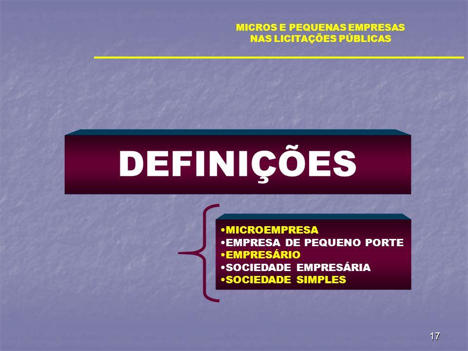 17 DEFINIÇÕES MICROS E PEQUENAS EMPRESAS NAS LICITAÇÕES PÚBLICAS MICROEMPRESA EMPRESA DE PEQUENO PORTE EMPRESÁRIO SOCIEDADE EMPRESÁRIA SOCIEDADE SIMPL