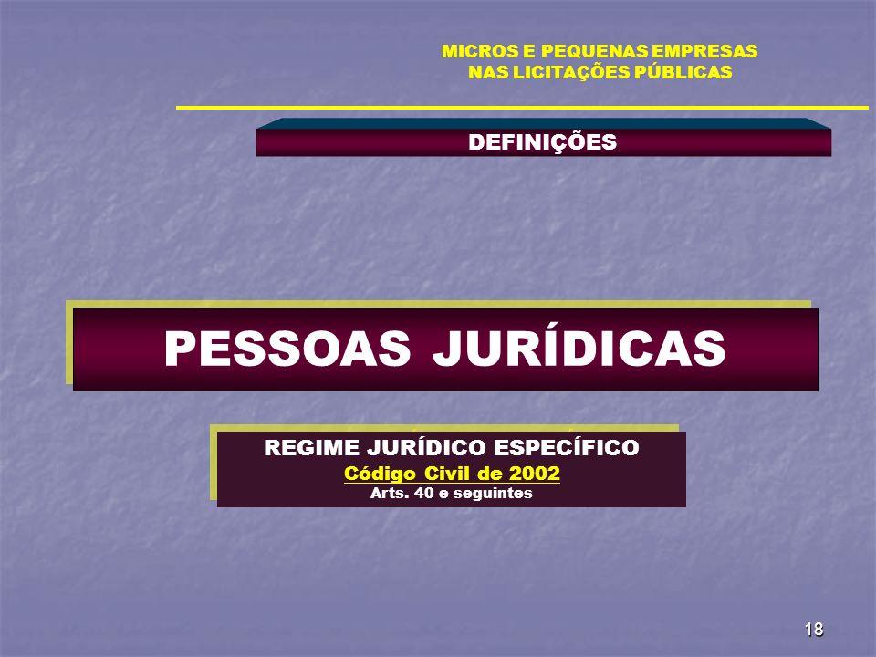 18 DEFINIÇÕES MICROS E PEQUENAS EMPRESAS NAS LICITAÇÕES PÚBLICAS PESSOAS JURÍDICAS REGIME JURÍDICO ESPECÍFICO Código Civil de 2002 Arts. 40 e seguinte