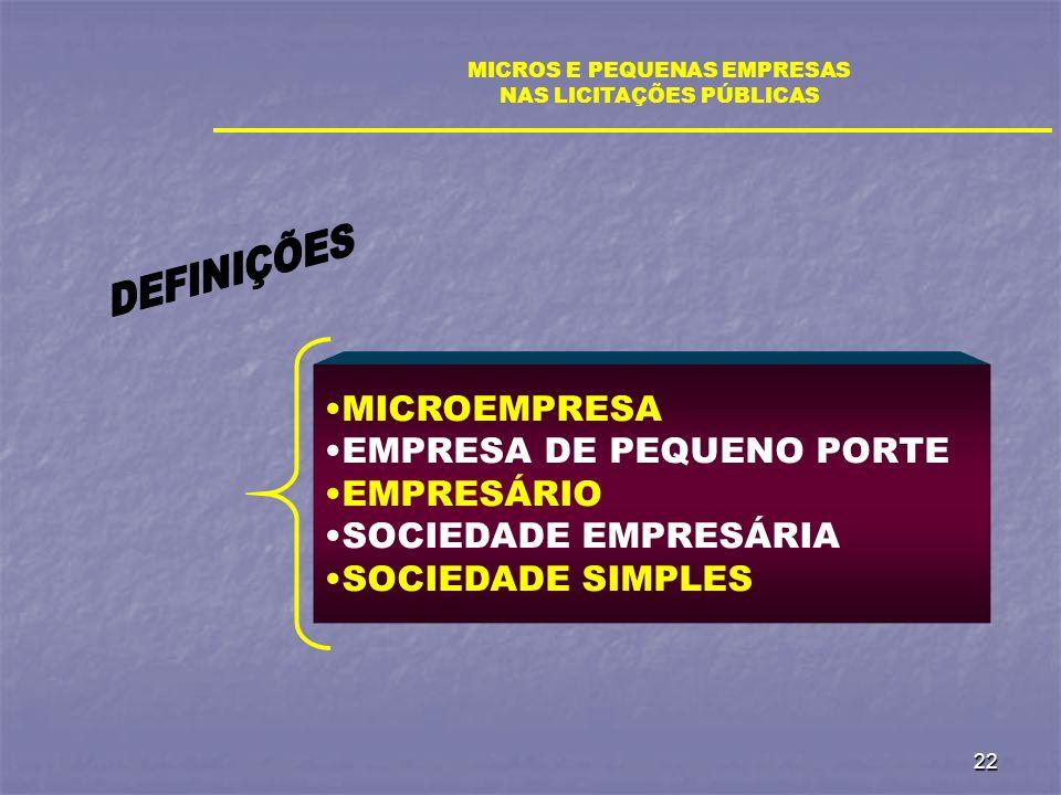 22 MICROS E PEQUENAS EMPRESAS NAS LICITAÇÕES PÚBLICAS MICROEMPRESA EMPRESA DE PEQUENO PORTE EMPRESÁRIO SOCIEDADE EMPRESÁRIA SOCIEDADE SIMPLES