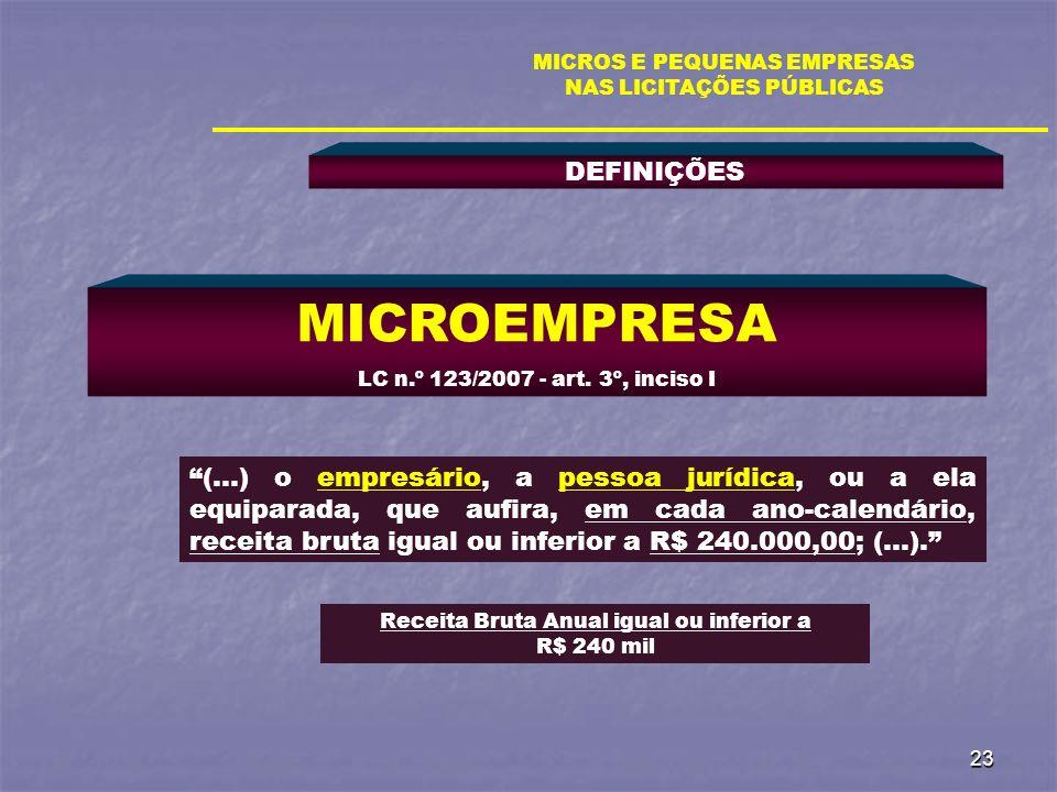 23 DEFINIÇÕES MICROS E PEQUENAS EMPRESAS NAS LICITAÇÕES PÚBLICAS MICROEMPRESA LC n.º 123/2007 - art. 3º, inciso I (...) o empresário, a pessoa jurídic