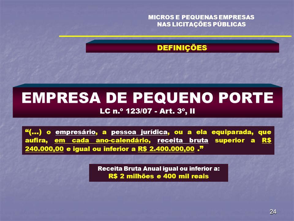 24 DEFINIÇÕES MICROS E PEQUENAS EMPRESAS NAS LICITAÇÕES PÚBLICAS EMPRESA DE PEQUENO PORTE LC n.º 123/07 - Art. 3º, II (...) o empresário, a pessoa jur