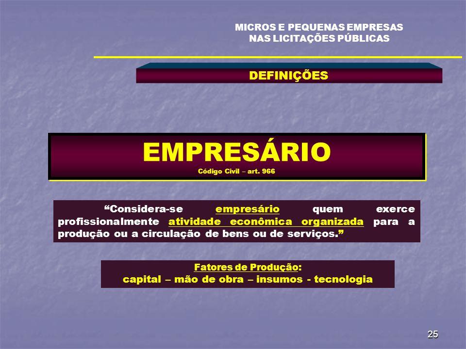 25 DEFINIÇÕES MICROS E PEQUENAS EMPRESAS NAS LICITAÇÕES PÚBLICAS EMPRESÁRIO Código Civil – art. 966 Considera-se empresário quem exerce profissionalme