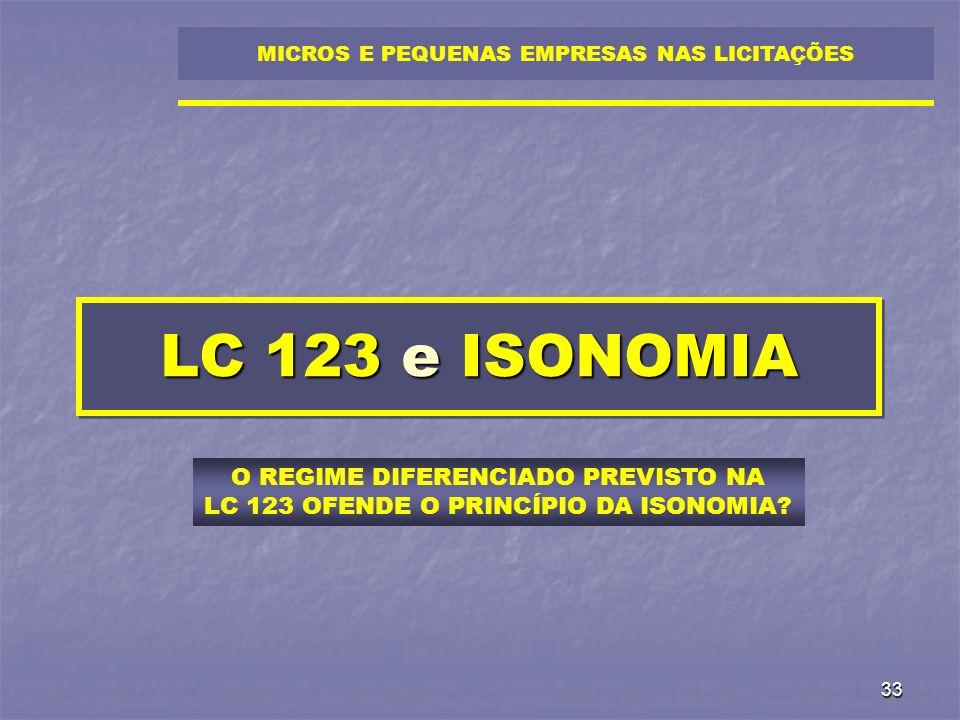 33 LC 123 e ISONOMIA MICROS E PEQUENAS EMPRESAS NAS LICITAÇÕES O REGIME DIFERENCIADO PREVISTO NA LC 123 OFENDE O PRINCÍPIO DA ISONOMIA?