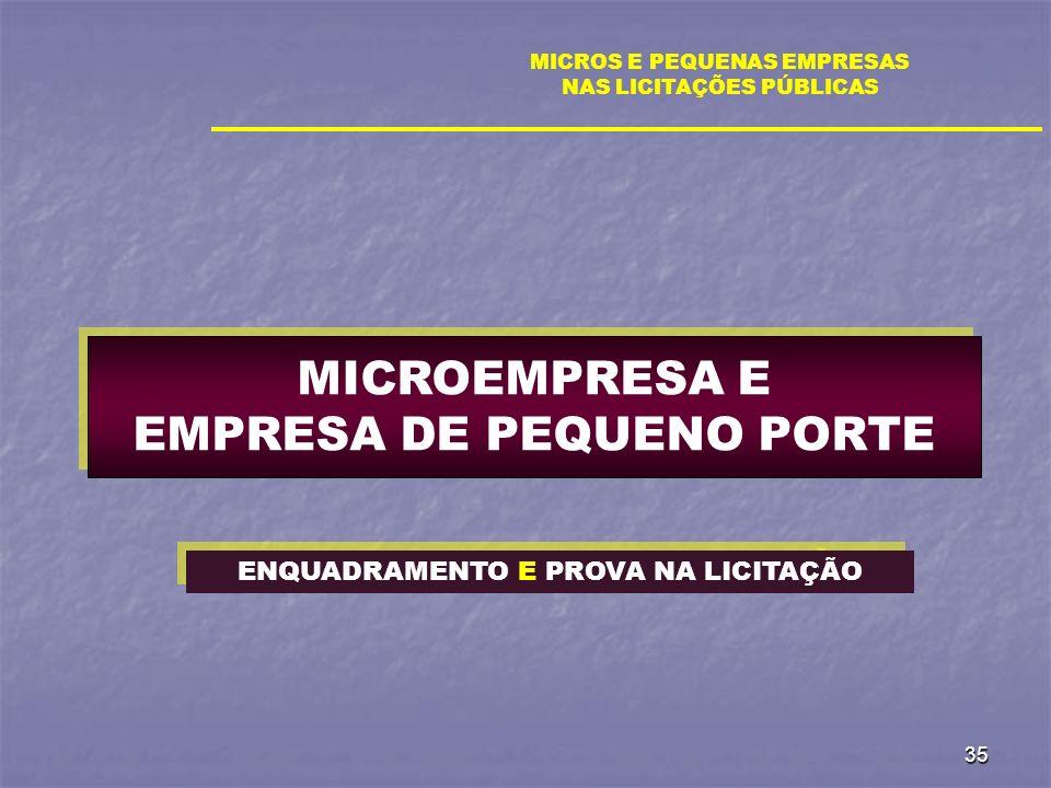 35 MICROS E PEQUENAS EMPRESAS NAS LICITAÇÕES PÚBLICAS MICROEMPRESA E EMPRESA DE PEQUENO PORTE ENQUADRAMENTO E PROVA NA LICITAÇÃO