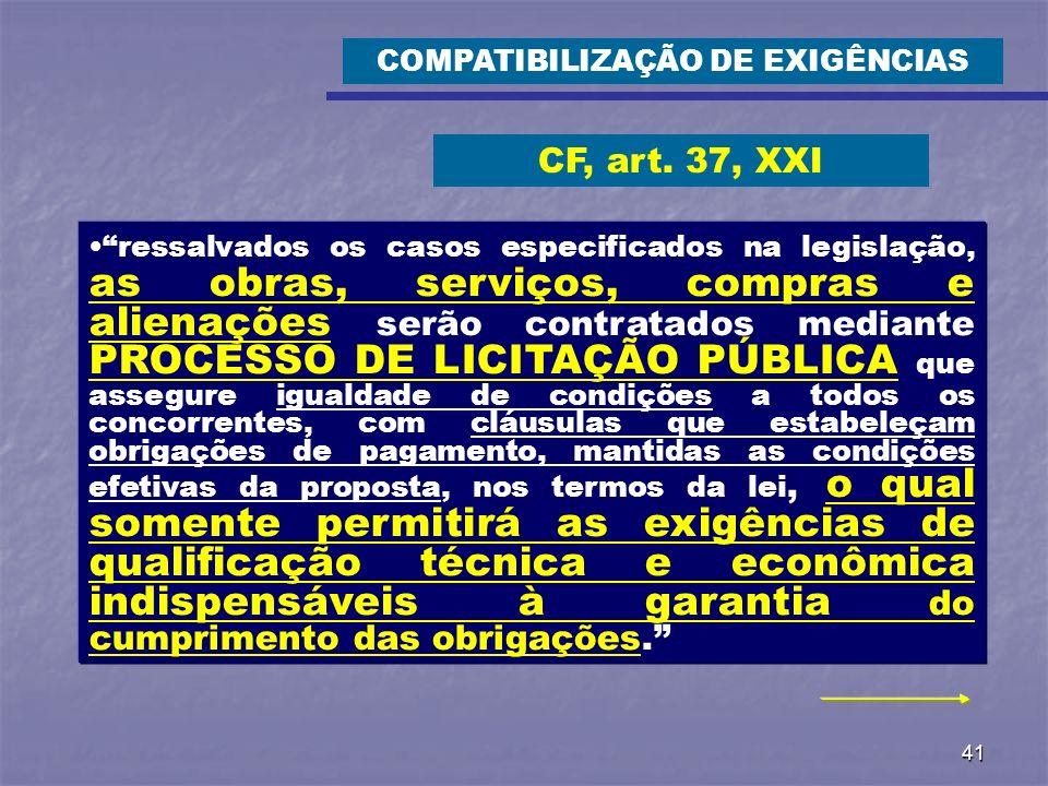 41 ressalvados os casos especificados na legislação, as obras, serviços, compras e alienações serão contratados mediante PROCESSO DE LICITAÇÃO PÚBLICA