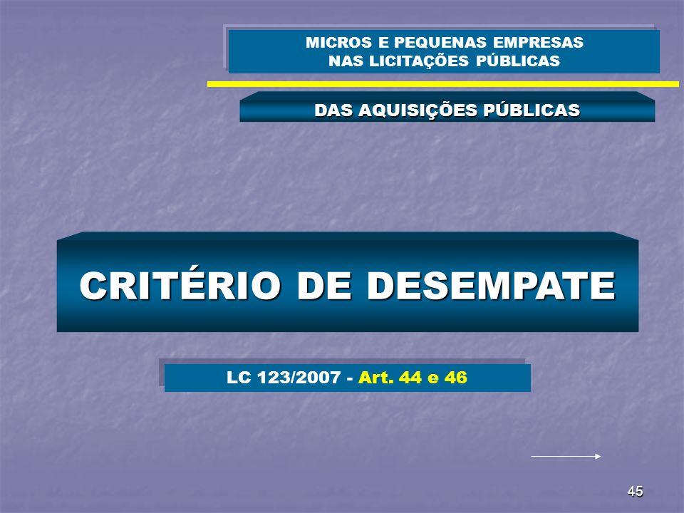 45 DAS AQUISIÇÕES PÚBLICAS MICROS E PEQUENAS EMPRESAS NAS LICITAÇÕES PÚBLICAS CRITÉRIO DE DESEMPATE LC 123/2007 - Art. 44 e 46