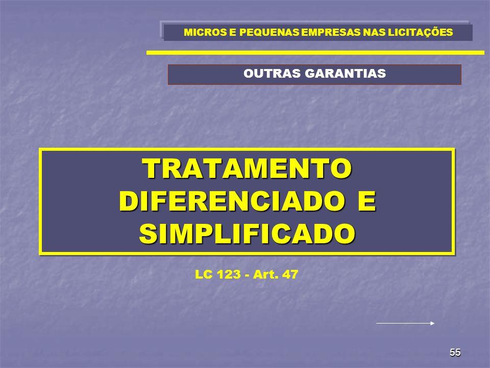 55 TRATAMENTO DIFERENCIADO E SIMPLIFICADO LC 123 - Art. 47 MICROS E PEQUENAS EMPRESAS NAS LICITAÇÕES OUTRAS GARANTIAS