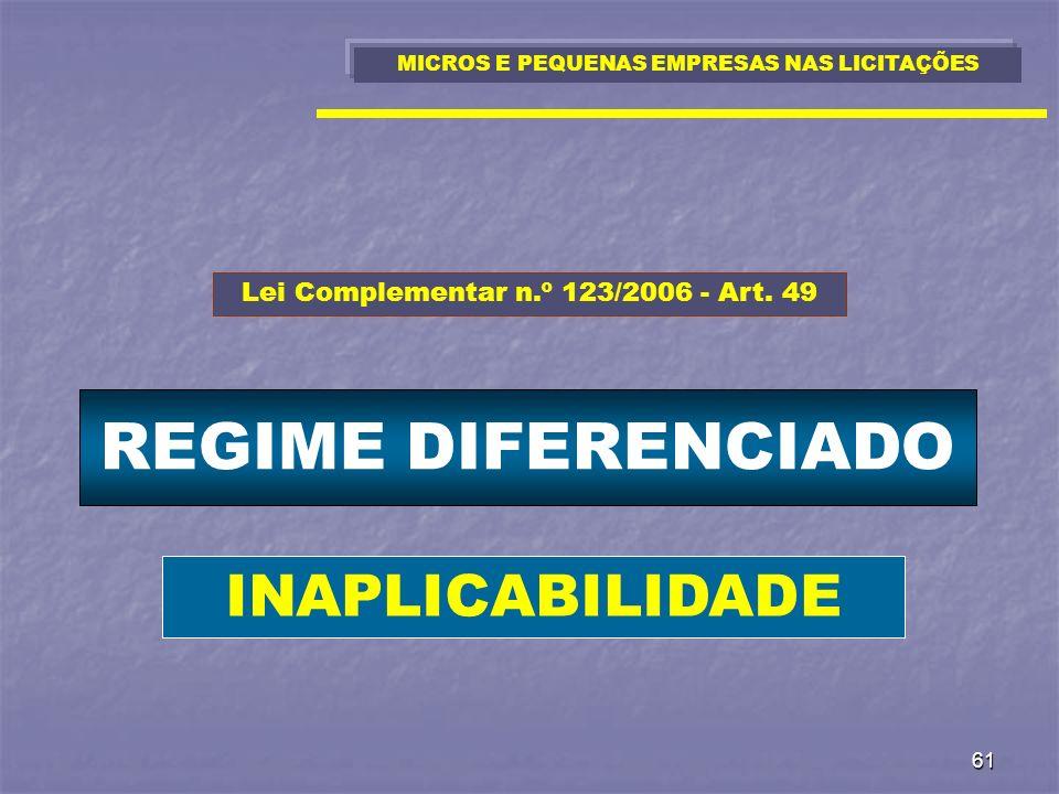 61 REGIME DIFERENCIADO MICROS E PEQUENAS EMPRESAS NAS LICITAÇÕES Lei Complementar n.º 123/2006 - Art. 49 INAPLICABILIDADE