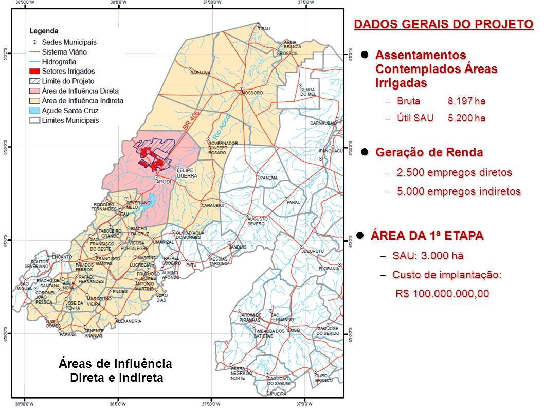 Área de influência direta, Município de Apodi (2.009) Área de influência direta, Município de Apodi (2.009) População residente total 38.524habitantes, População residente total 38.524habitantes, Área 1.603 km² Área 1.603 km² População economicamente ativa 13.946 ha População economicamente ativa 13.946 ha Áreas de Influência Direta e Indireta DADOS GERAIS DO PROJETO Áreas de Influencia Indireta Áreas de Influencia Indireta Mossoró 2.110 km², População residente 213.841 habitantes Mossoró 2.110 km², População residente 213.841 habitantes Itaú, Lucrécia, Luís Gomes, Pilões, Major Sales, Marcelino Vieira, Caraúbas, Gov.Dix-Sept Rosado Itaú, Lucrécia, Luís Gomes, Pilões, Major Sales, Marcelino Vieira, Caraúbas, Gov.Dix-Sept Rosado Área de influência direta, Município de Felipe Guerra Área de influência direta, Município de Felipe Guerra População residente total 6.996habitantes, População residente total 6.996habitantes, Área 268 km² Área 268 km² População economicamente ativa 2.254 habitantes População economicamente ativa 2.254 habitantes
