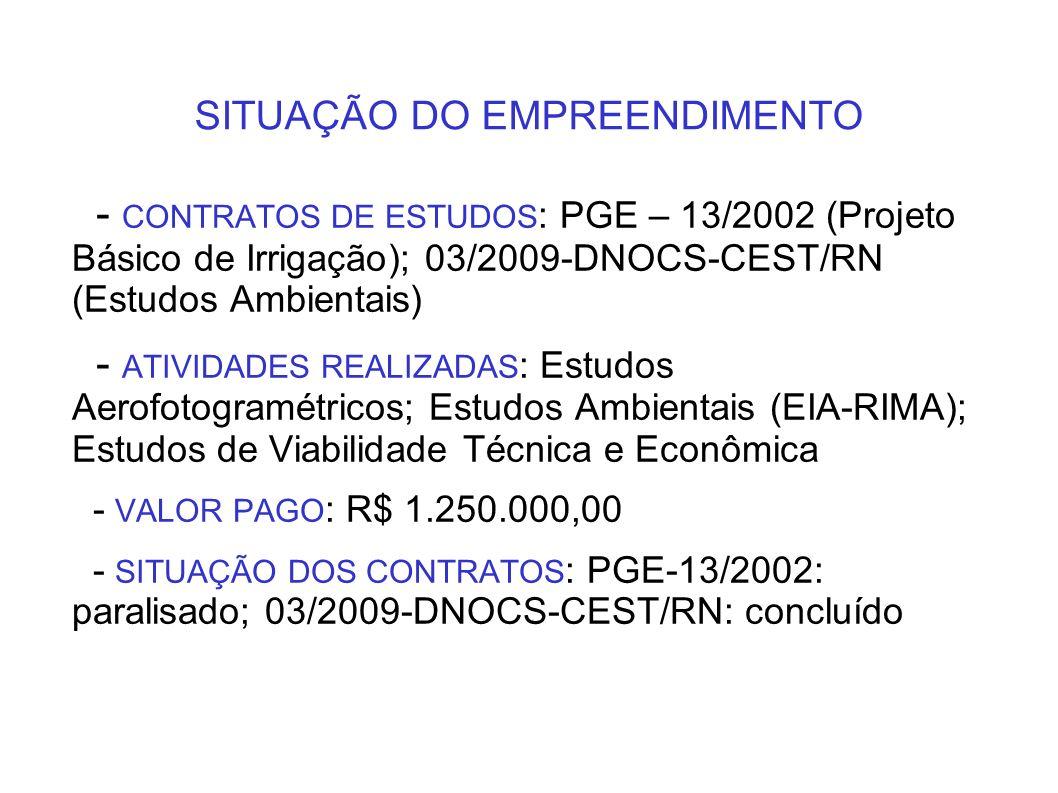 SITUAÇÃO DO EMPREENDIMENTO - CONTRATOS DE ESTUDOS : PGE – 13/2002 (Projeto Básico de Irrigação); 03/2009-DNOCS-CEST/RN (Estudos Ambientais) - ATIVIDAD