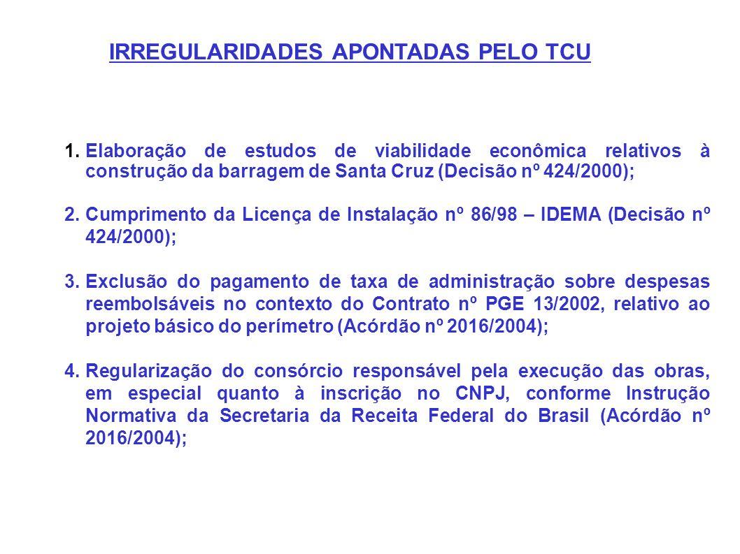 IRREGULARIDADES APONTADAS PELO TCU 1.Elaboração de estudos de viabilidade econômica relativos à construção da barragem de Santa Cruz (Decisão nº 424/2
