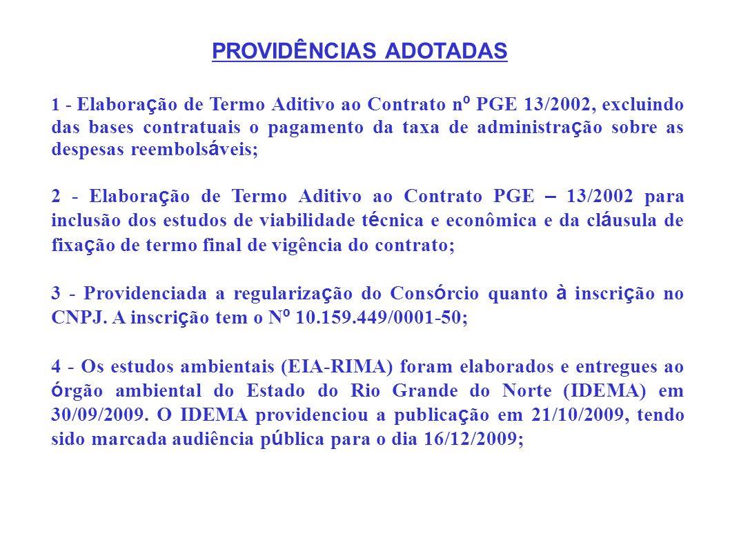 5 – Os estudos de viabilidade técnica e econômica foram elaborados no âmbito do Contrato PGE – 13/2002, a partir da formalização de aditivo para inclusão dos referidos estudos.