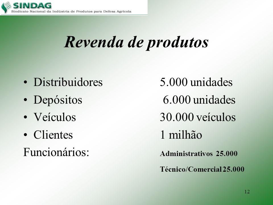 12 Revenda de produtos Distribuidores5.000 unidades Depósitos 6.000 unidades Veículos30.000 veículos Clientes1 milhão Funcionários: Administrativos 25