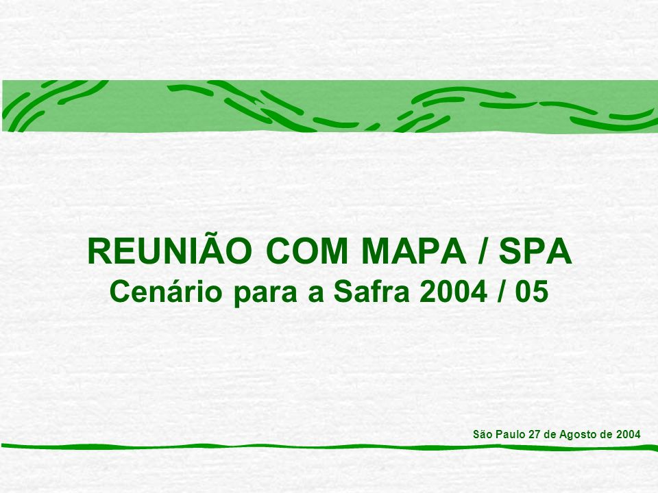 REUNIÃO COM MAPA / SPA Cenário para a Safra 2004 / 05 São Paulo 27 de Agosto de 2004