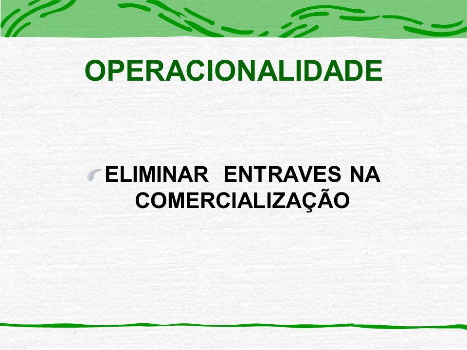 OPERACIONALIDADE ELIMINAR ENTRAVES NA COMERCIALIZAÇÃO