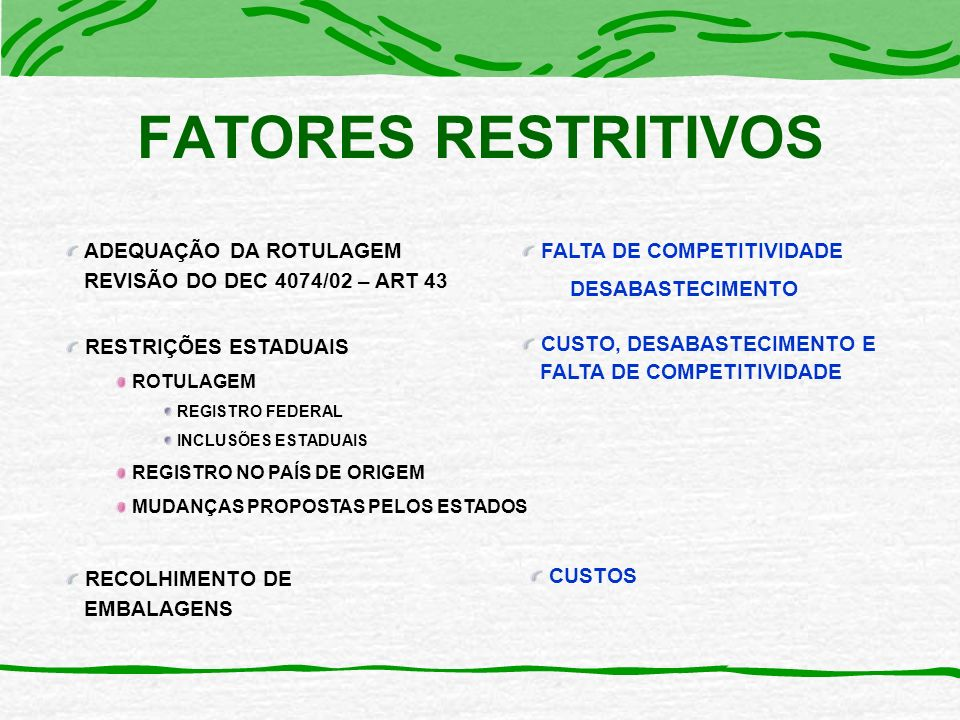 ADEQUAÇÃO DA ROTULAGEM REVISÃO DO DEC 4074/02 – ART 43 RESTRIÇÕES ESTADUAIS ROTULAGEM REGISTRO FEDERAL INCLUSÕES ESTADUAIS REGISTRO NO PAÍS DE ORIGEM MUDANÇAS PROPOSTAS PELOS ESTADOS RECOLHIMENTO DE EMBALAGENS FALTA DE COMPETITIVIDADE DESABASTECIMENTO CUSTOS CUSTO, DESABASTECIMENTO E FALTA DE COMPETITIVIDADE FATORES RESTRITIVOS