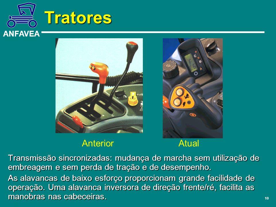 ANFAVEA 10 Transmissão sincronizadas: mudança de marcha sem utilização de embreagem e sem perda de tração e de desempenho. As alavancas de baixo esfor