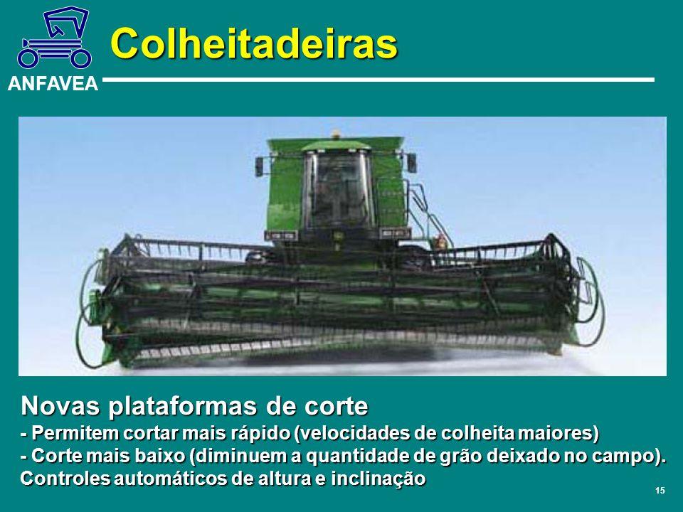 ANFAVEA 15 Novas plataformas de corte - Permitem cortar mais rápido (velocidades de colheita maiores) - Corte mais baixo (diminuem a quantidade de grã