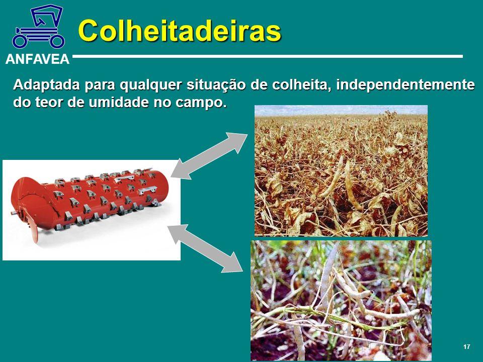 ANFAVEA 17 Adaptada para qualquer situação de colheita, independentemente do teor de umidade no campo. Colheitadeiras