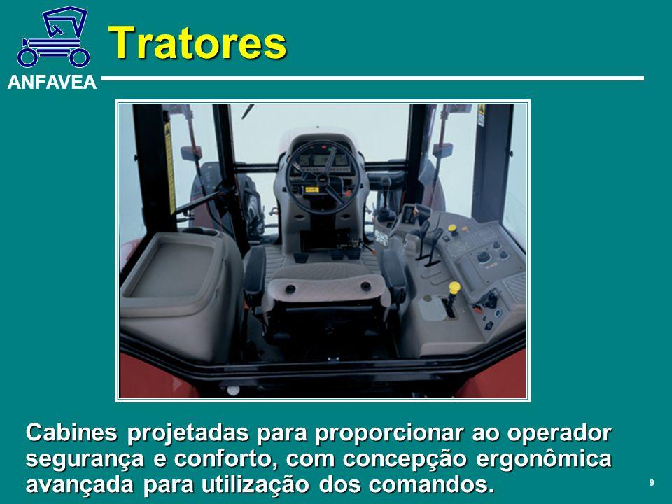 ANFAVEA 9 Tratores Cabines projetadas para proporcionar ao operador segurança e conforto, com concepção ergonômica avançada para utilização dos comand